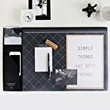 "Modern Style Nonslip Desk Mat Clear PVC Cover Mouse Pad Writing Pad Decorative Desk Protector Desk Organizer Desk Blotter, 21.6"" X 13"" (Black)"