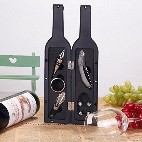 Amazon #LightningDeal 95% claimed: Vina 5 Pcs/set Deluxe Wine Bottle Opener Accessories Gift Set - Wine Bottle Opener, Wine Stopper,Wine Drip Ring, Wine Foil Cutter and Wine Pourer
