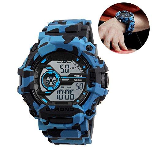 EIGIIS Multifunction Sports Watch Waterproof Digital Wristwatches With Luminous Alarm Stopwatch (Blue (Blue Camo Fashion Watch)