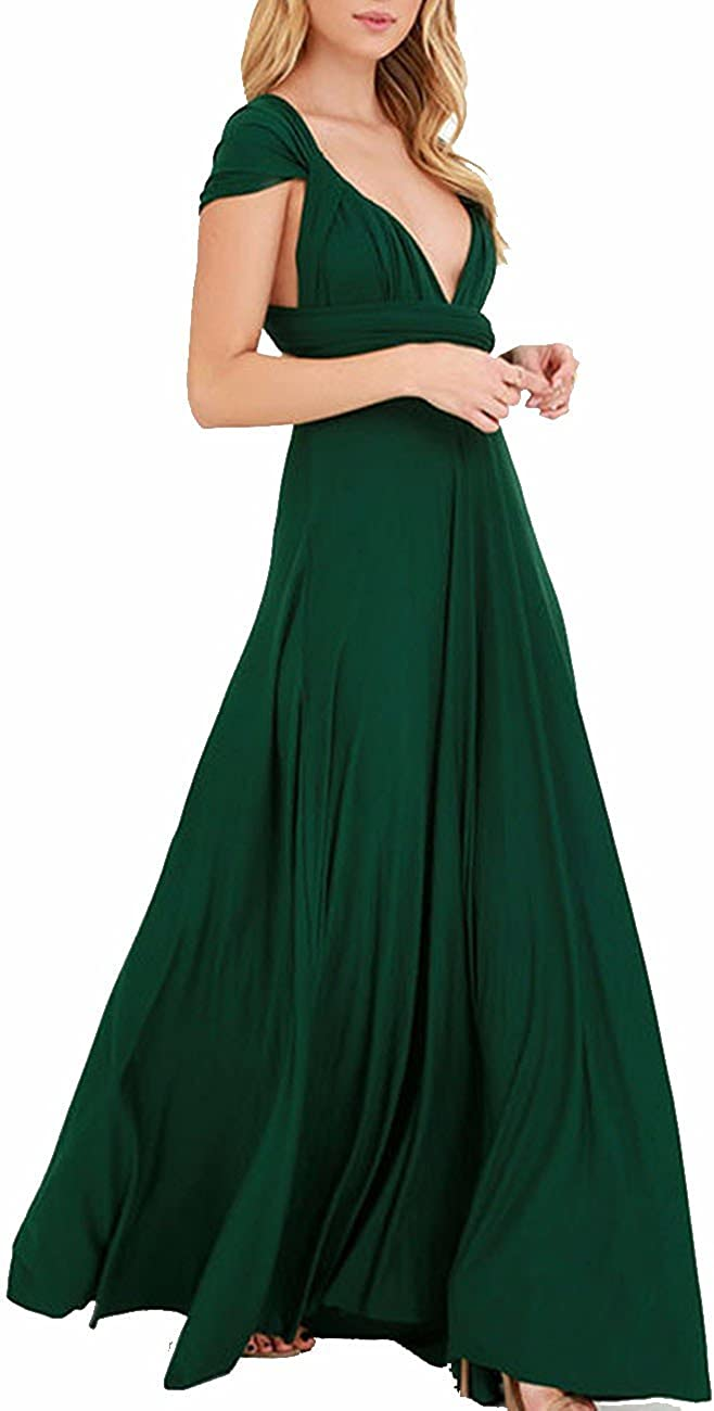 TALLA XL. EMMA Mujeres Falda Larga de Cóctel Vestido de Noche Dama de Honor Elegante sin Respaldo Verde XL