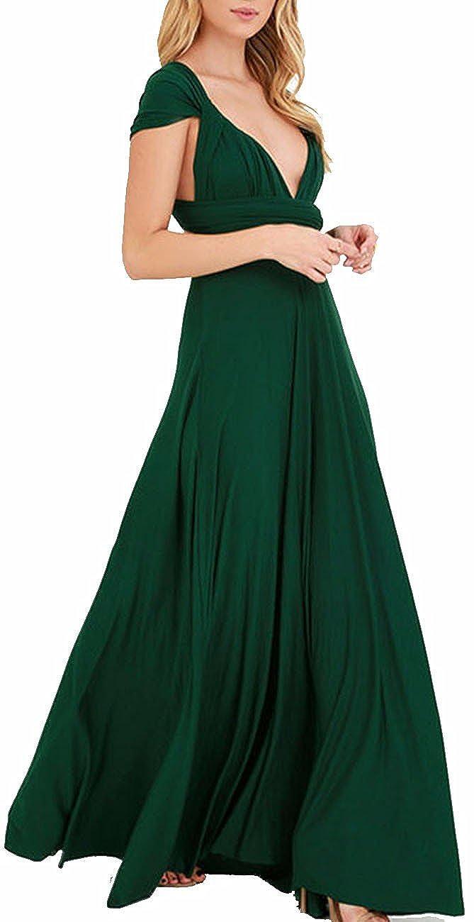 TALLA S. EMMA Mujeres Falda Larga de Cóctel Vestido de Noche Dama de Honor Elegante sin Respaldo Verde S