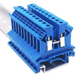 Erayco UK2.5N-BL DIN Rail Terminal Block, Screw Clamp, 600V 20A 24-12AWG, Pack of 100