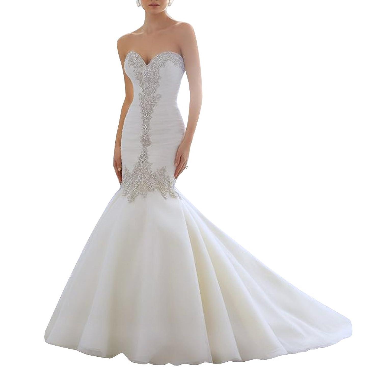 AbaoWedding Women's Strapless Lace Applique Beading Mermaid Wedding Dress