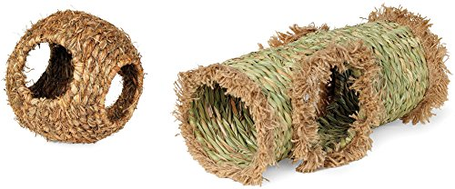Prevue Hendryx (2-Piece Combo Pack Hideaway Grass Tunnel Toy and Large Grass Ball Toy