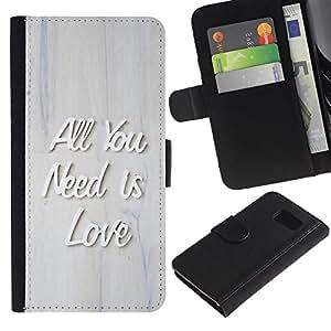 KingStore / Leather Etui en cuir / Samsung Galaxy S6 / All You Need Is Love Presupuesto 3D Criado texto