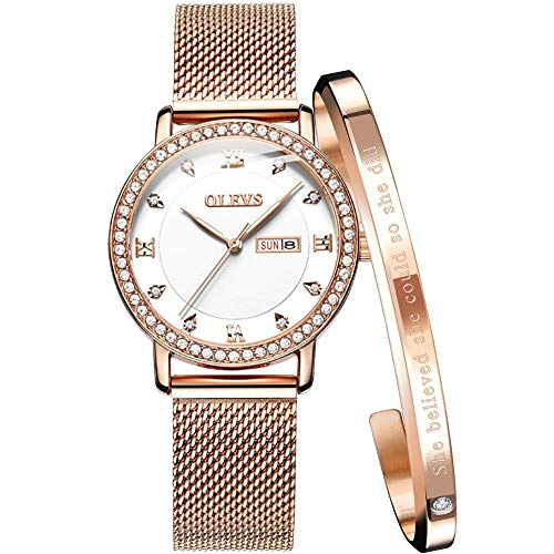 ion Ladies Watches for Women Waterproof Quartz Analog Watch Women Gold Steel Strip White Dial Watches for Women Luxury Rhinestones Day Date Female Wrist Watch with Bracelet Set ()