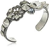 Marc Jacobs ''Resort 2016'' Crystal/Antique Silver Daisy Statement Cuff Bracelet