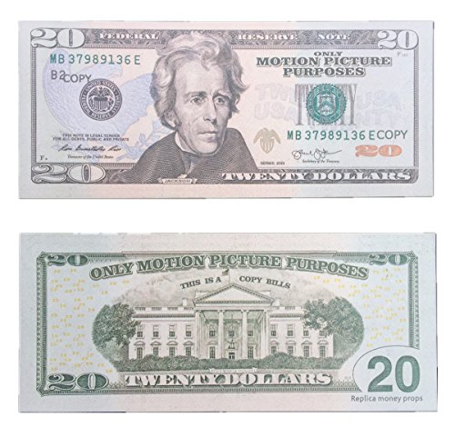 COPY MONEY Total $20, 000 Dollar $20X1000 Pcs FAKE MONEY US Currency Props Advertising & Novelty Real Looking New Style Copy Double-Sided Printing - for Movie, TV, Videos