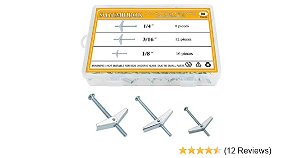 Sutemribor 1//8 Inch 36 PCS 1//4Inch Toggle Bolt and Wing Nut for Hanging Heavy Items on Drywall 3//16Inch