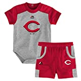 Outerstuff Cincinnati Reds MLB Grey Double Header Creeper & Shorts Set Infant (12M-24M)