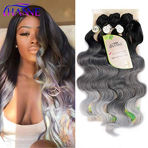 HANNE Ombre Color Hair Synthetic Body Wave Hair 182022 with Closure Heat Resistant Fiber Hair Colorful Synthetic Hair Extensions (Black&Grey&Light Grey)