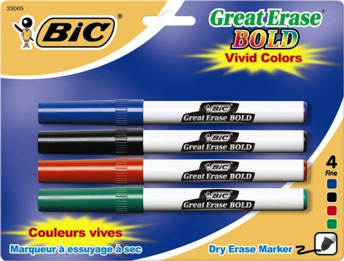 Style Fine Point (BIC Great Erase Bold Color Dry Erase Marker, Fine Point, Assorted Colors, 24 Dry Erase Markers)