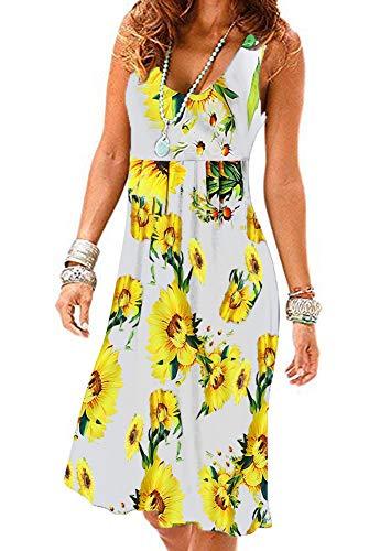 Akihoo Womens Summer Halter Neck Floral Print Sleeveless Casual Mini Dress 0-Flower White XL