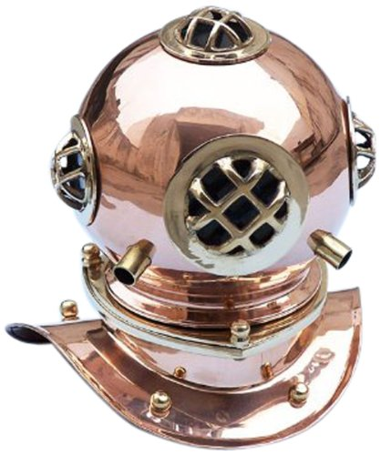 "Hampton Nautical  Copper Divers Helmet, 9"", Copper"