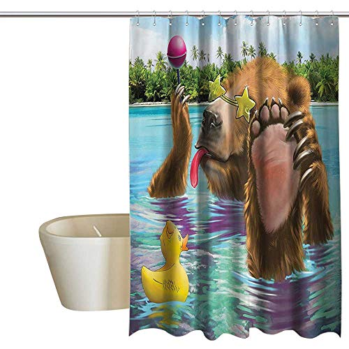 - MaryMunger Animal Decor Shower stall Curtains Happy Fancy Wild Bear in The Sea by The Beach with its Sunglass Candies Print Mildew Resistant W72 x L72 Multicolor
