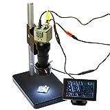 Aihome 800TVL 130X Microscope Kit Industrial Camera BNC/AV Output + 4.3'' LCD Monitor + Stand Holder + C-Mount Lens + 40 LED Ring Right