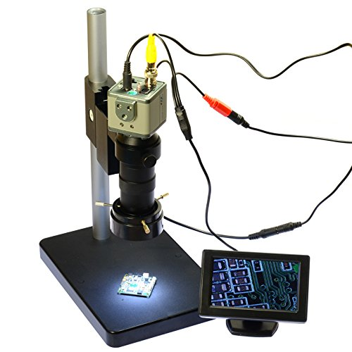 - Aihome 800TVL 130X Microscope Kit Industrial Camera BNC/AV Output + 4.3