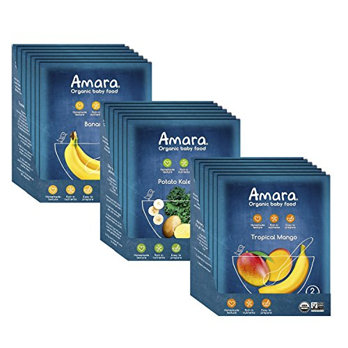 Amara Baby Food, Introduction to Solids, Healthy Baby & Infant Food, Organic Fruits and Veggies for Baby's First Meals – Banana, Potato & Kale, Tropical Mango (21 Pouches) For Sale