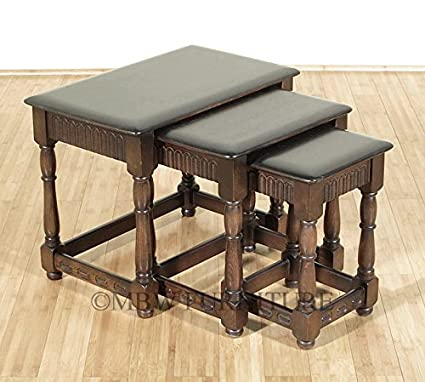 Vintage Solid Dark Oak Nesting Table Set (3) C1960s