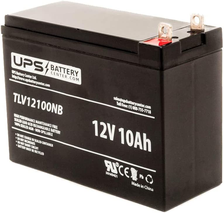 x W: 2.56 151 mm 65 mm x H: 4.37 12V 10Ah SLA Rechargeable Battery with NB Terminals 111 mm Battery Dimensions L: 5.94
