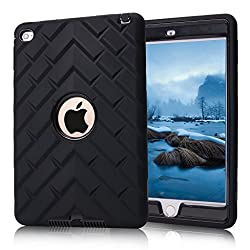 Ipad Mini 4 Case, Ipad A1538a1550 Case, Hocase Rugged Shockproof Anti-slip Hybrid Hard Shell+silicone Rubber Bumper Protective Case For Apple Ipad Mini 4th Generation 2015 - Black