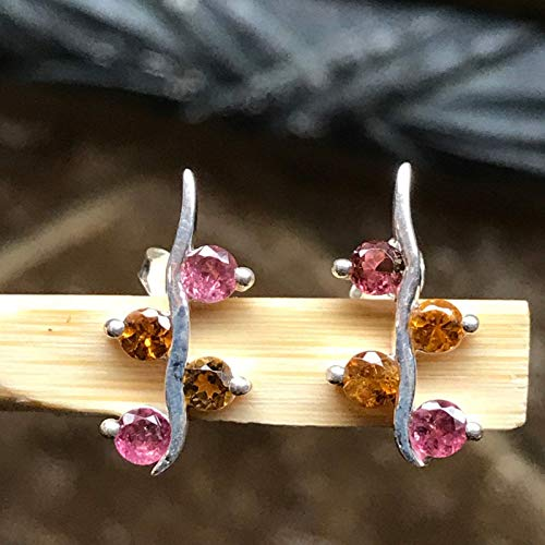 Natural Pink and Orange Tourmaline 925 Solid Sterling Silver Designer Earrings 15mm