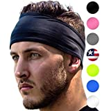 Sports Headband: UNISEX Fitness Headbands For Women & Men. Head Band Sweatband for Running, Yoga, Workout Gym Exercise. NO SLIP Sport Sweatbands & Sweat Wicking Athletic Head Wrap Bands Black