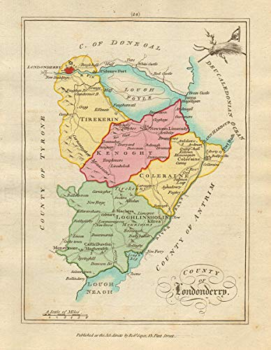 Amazon Com County Of Londonderry Ulster Antique Copperplate Map