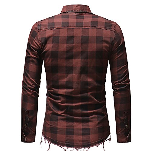 Quadri Slim Con Manica Rosso Kobay Uomo Camicia Camicetta A Fit Tasche Lunga YtxwqE7a