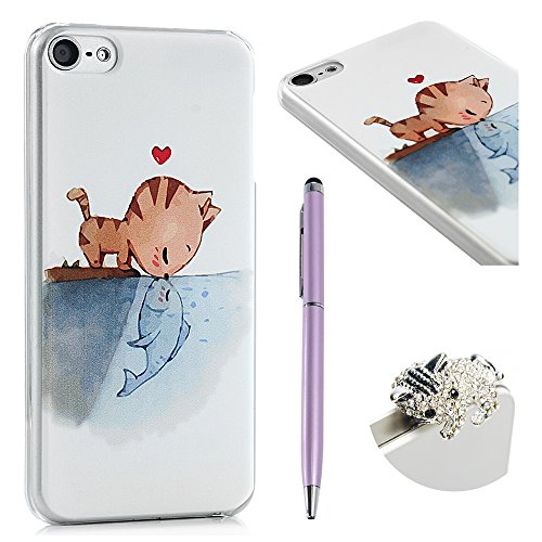 MOLLYCOOCLE iPod Touch 6 Case, Cat and Fish Fall in Love Painted Pattern Case for iPod Touch 5 with Phone Screen Pen and Phone Dust Plug -3Pcs