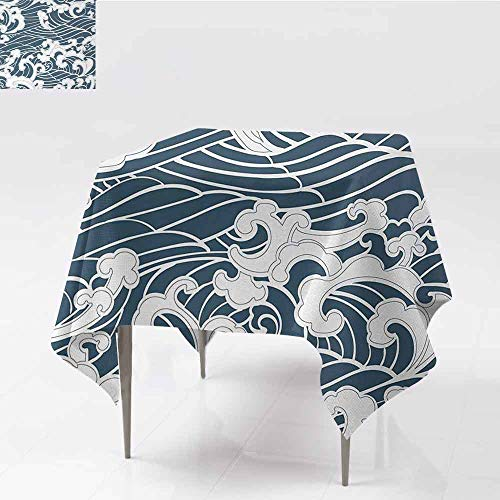 ETHEEKA Washable Tablecloth,Japanese Wave,for Events Party Restaurant Dining Table Cover,54x54 Inch,Slate Blue White (Slate Blue Tabletop Buffet Bar)