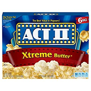 ACT II Xtreme Butter Microwave Popcorn Bags, 6-Count (Pack of 6)