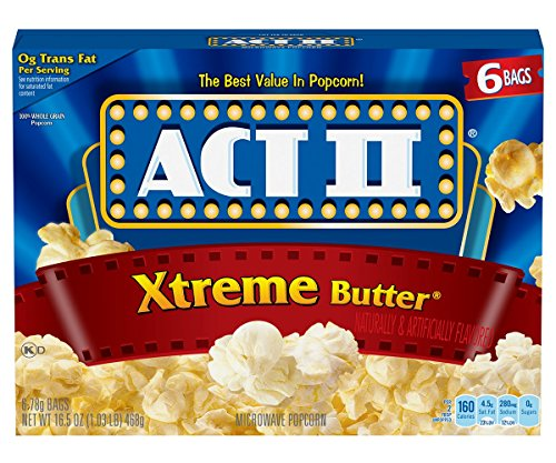 - ACT II Xtreme Butter Microwave Popcorn Bags, 6-Count (Pack of 6)