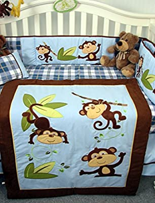 14 Piece Playful Monkey Boy Crib Bedding Set from SoHo Designs