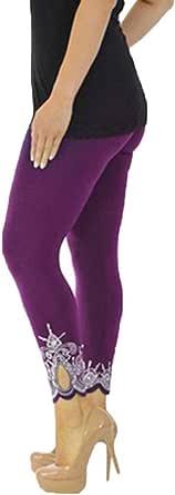 Lenfesh Leggings talla grande Deportivos de Cintura Alta de Tela Suave de Malla Pantalones de Yoga Elásticos para Mujer S-5XL