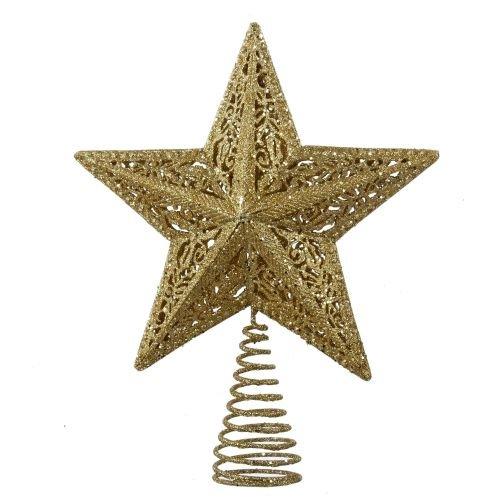 Kurt Adler Leaf Star Treetop, 10-Inch, Gold