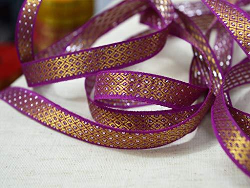 Wholesale Dark Magenta Sari Border with Gold Zari Woven Decoration Jacquard Trims Designer Metallic Thread Sew Ribbon Gift Wrap by 9 Yards