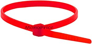 Monoprice Cable Tie 8 inch 40LBS, 100pcs/Pack - Red