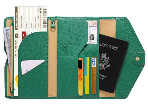 (Zoppen Mulit-purpose Rfid Blocking Travel Passport Wallet (Ver.4) Tri-fold Document Organizer Holder, 3 Forest Green)