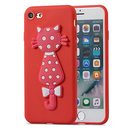iPhone 7 Case / iPhone 8 Case + Free HD Screen Protector,idatog 3D Cute Cartoon Cat Design Soft Silicone Gel Skin Cover Case Flexible TPU Creative Case Bumper Shockproof Anti-Scratch Protective Back C Red