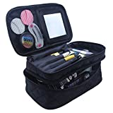 Relavel Makeup Bag for Women with Mirror 2 Layer Large Makeup Brushes Bags Cosmetic Bag Organizer Professional 2 layer Large Makeup Pouch for Travel Home (black large)