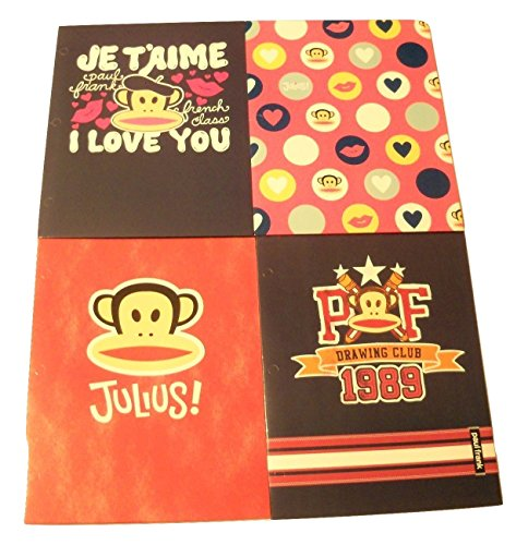 Paul Frank 4 Folder Set ~ French Class, Julius Crush in Circles, PF Drawing Club, Julius on Faded Red Denim