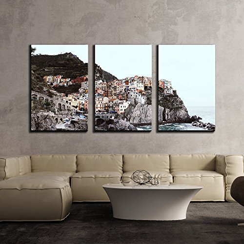 Beautiful Landscape Scenery of Panorama View over a Cinque Terre Village x3 Panels