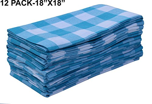 Pack Of 12 Spa Blue -white 100% Cotton Yarn Dyed Gingham Check Dinner Napkins 18x18Inch,Clambake Beach party Nautical Dinner Napkins as well offered by Linen Clubs (12 Days Of Christmas Napkins)
