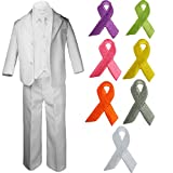 5pc Baby Boy Teen WHITE SUIT w/ Cancer Awareness Ribbon Adhesive LOVE HOPE Patch (3T, Gray Ribbon)