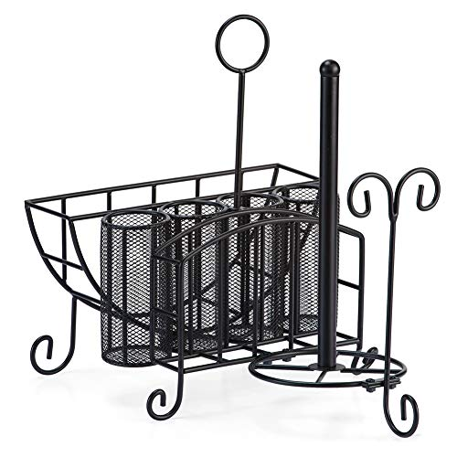 Metal Picnic Caddy with Paper Towel Holder, Includes Space for Plates, Silverware and Napkins - Great for Summer Outings, Black]()