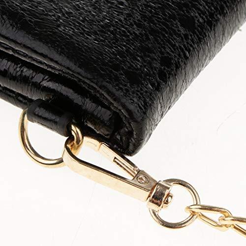 Sac de Soirée Portés Noir avec B Sacs Femme Main de Enveloppe Détachables 2 Baosity Sangles Chaîne Poignets AwqOY5