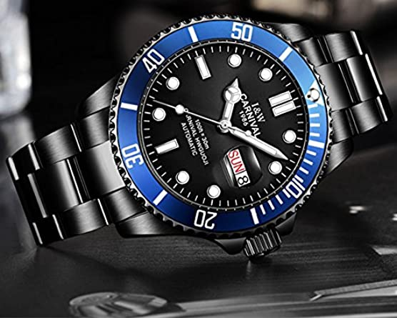 Brand Luxury Men Automatic Mechanical Watches Black Luminous Sapphire Glass Stainless Steel Diving Watch