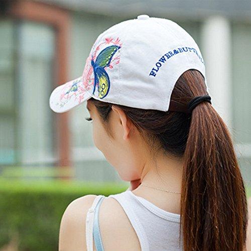 Leisial Gorra de Béisbol de Señora del Verano Patrón de Bordado de Mariposa  Sombrero de Sol de Hip Hop Aire Libre Gorro Visor para Mujeres Chicas  ... 23a2cbc16f7