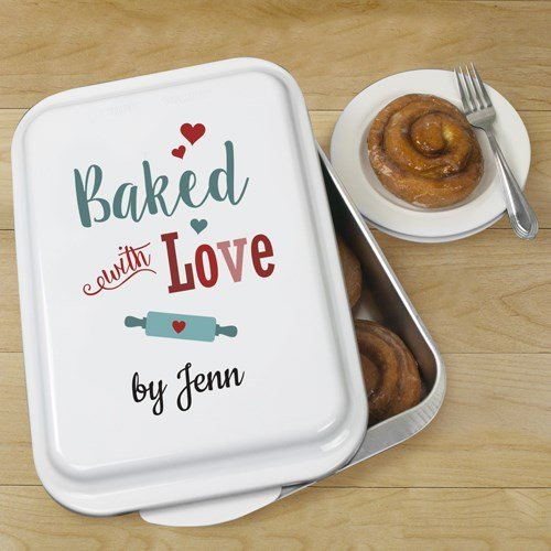Personalized Baked With Love Cake Pan, Aluminium